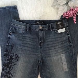 👖Vera Wang Embroidered Skinny Jeans Size 16